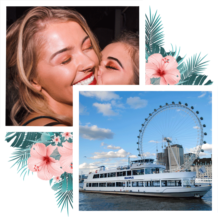 El Erasmus luxury party boat. all white bbq boat brunch party london river thames