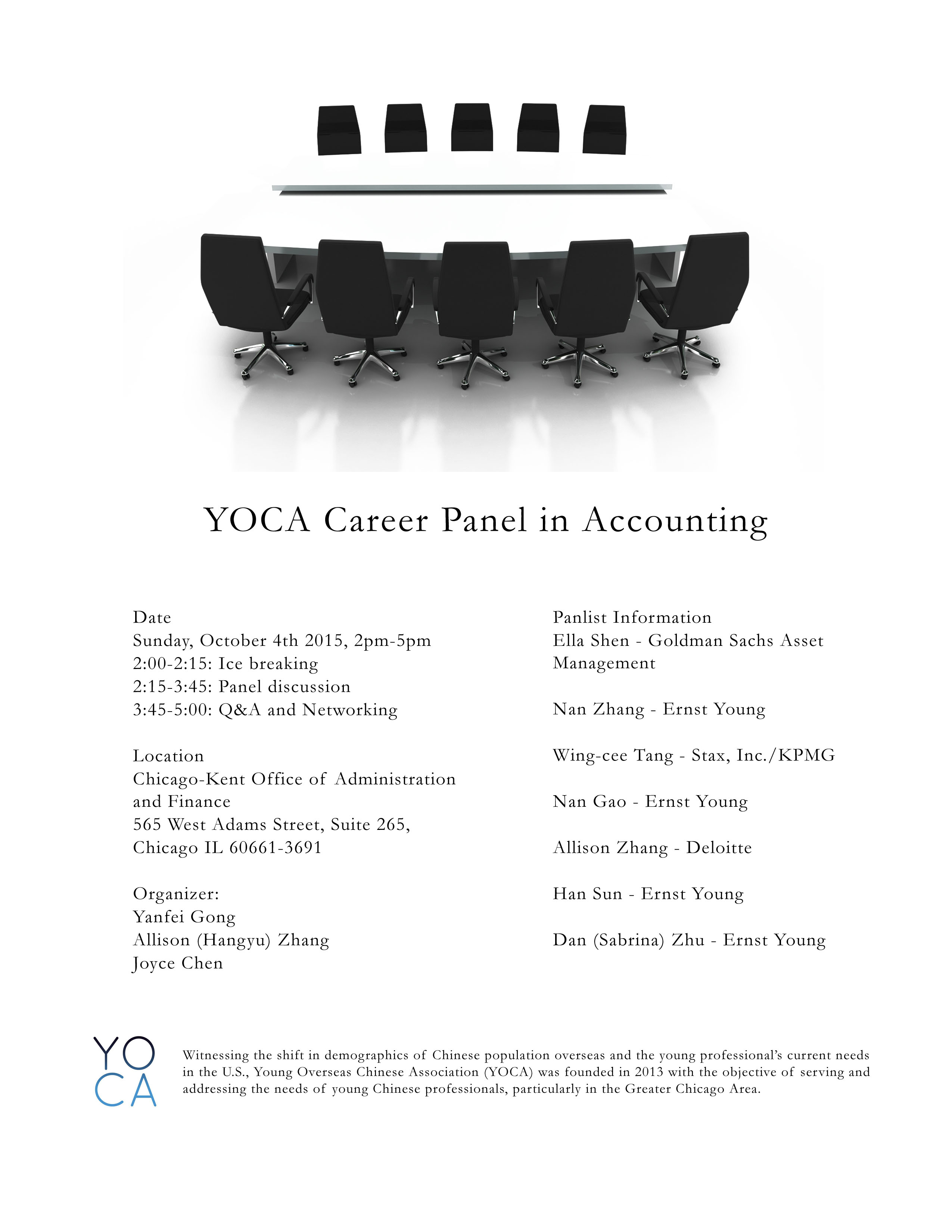 Yoca career panel in accounting tickets sun oct 4 2015 at 2 00 pm eventbrite - Ey chicago office address ...