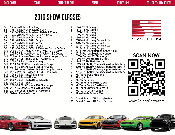 2016 Saleen Show Classes