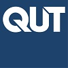 QUT Logo white on blue