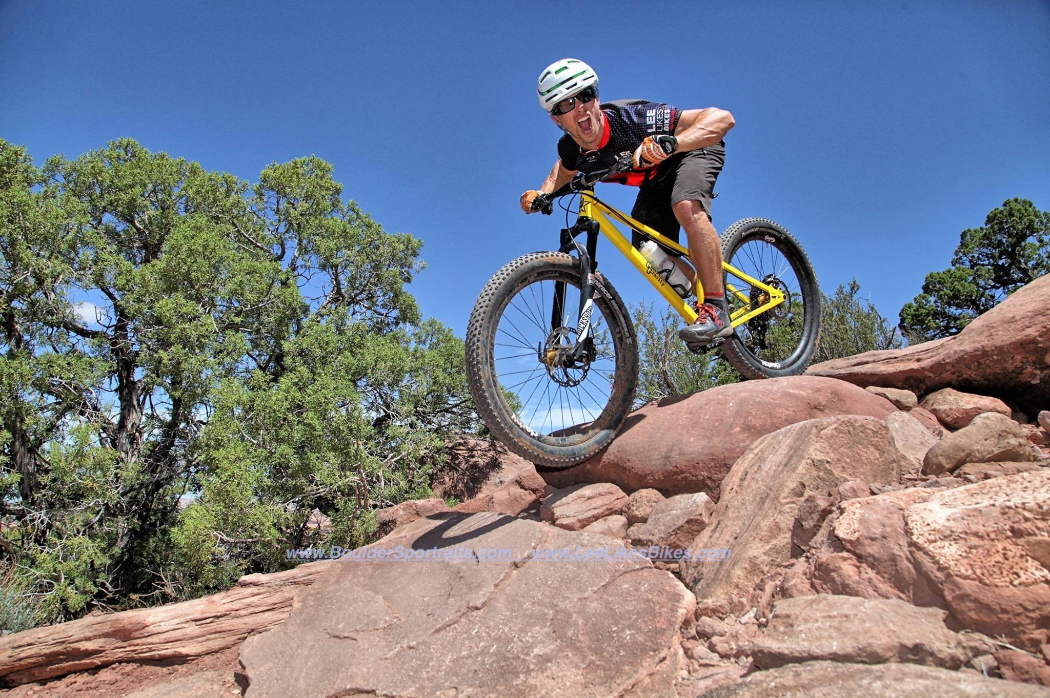 Kevin stoked while Riding rock garden with a capital R in Moab
