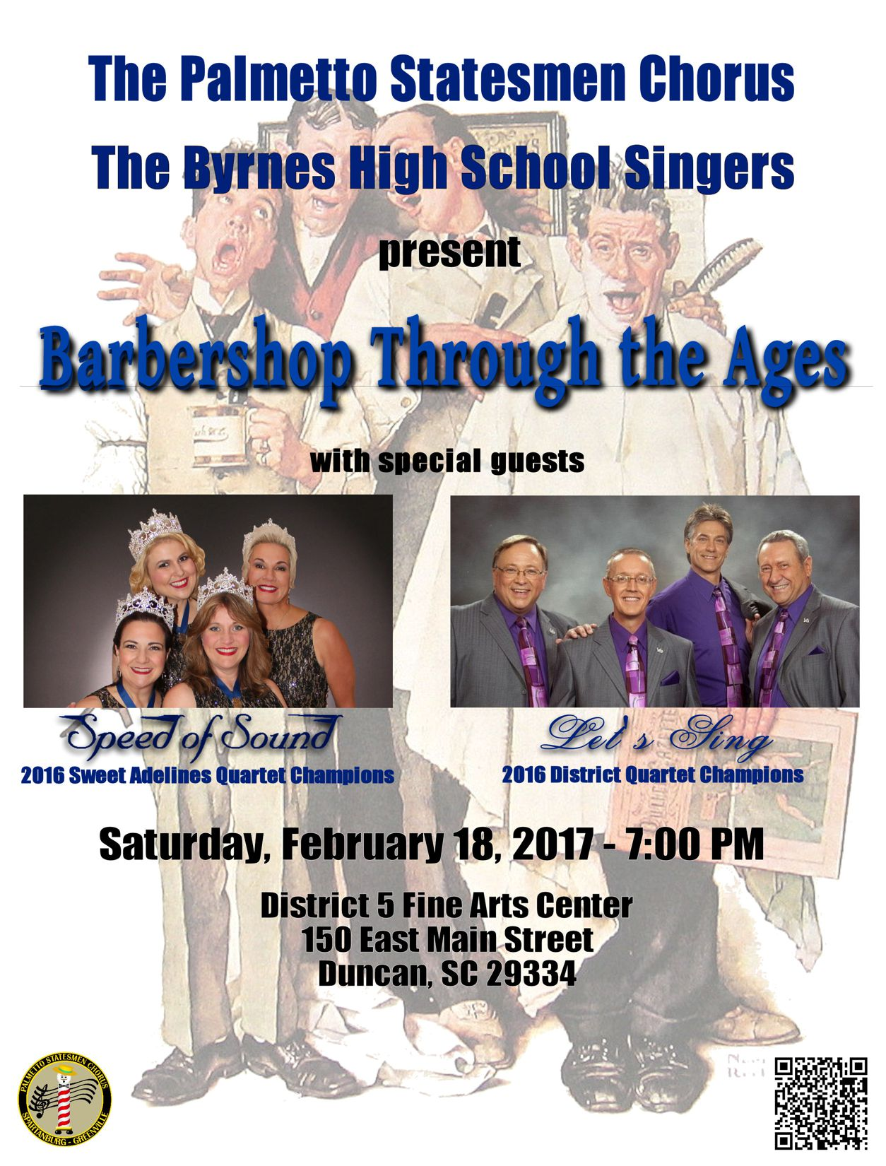 Concert featuring The Palmetto Statesmen Chorus & Quartets & Byrnes Singers + Sweet Adelings & NSC District Quarter Champions