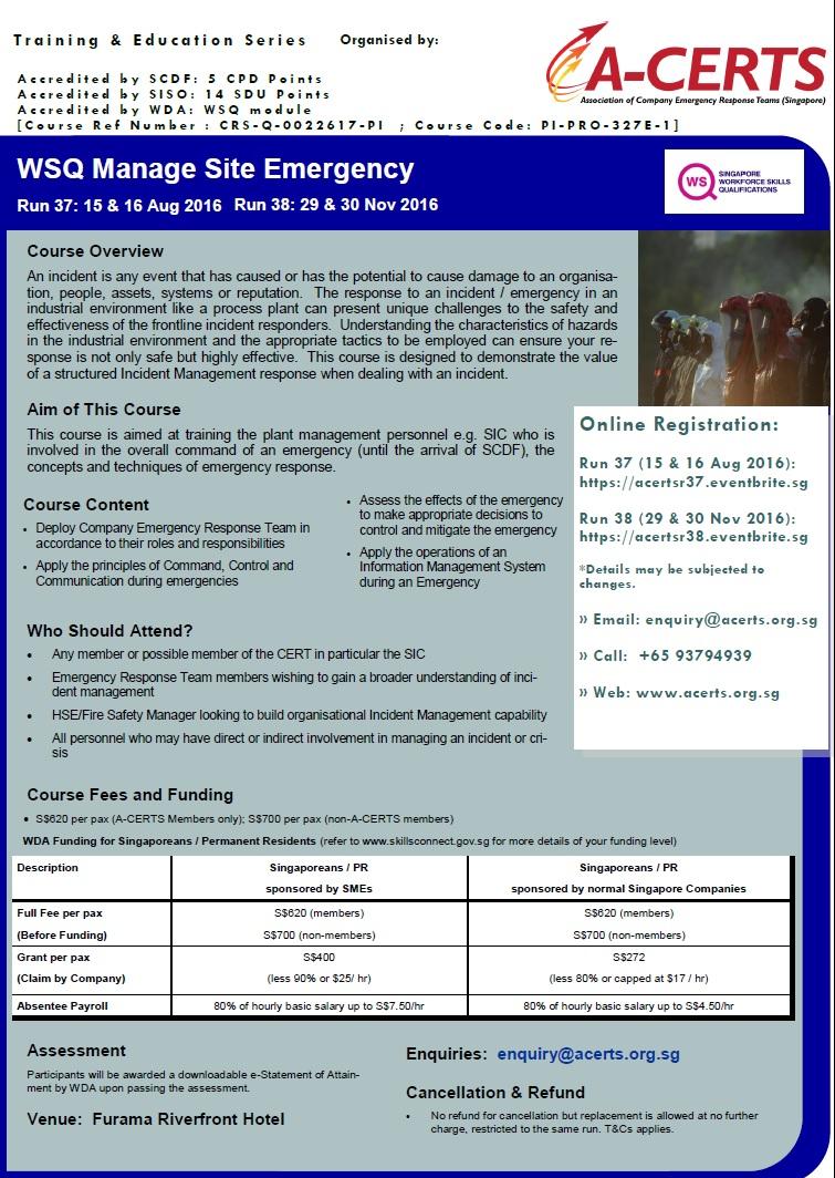 SIC WSQ Manage Site Emergency Jul to Dec 2016