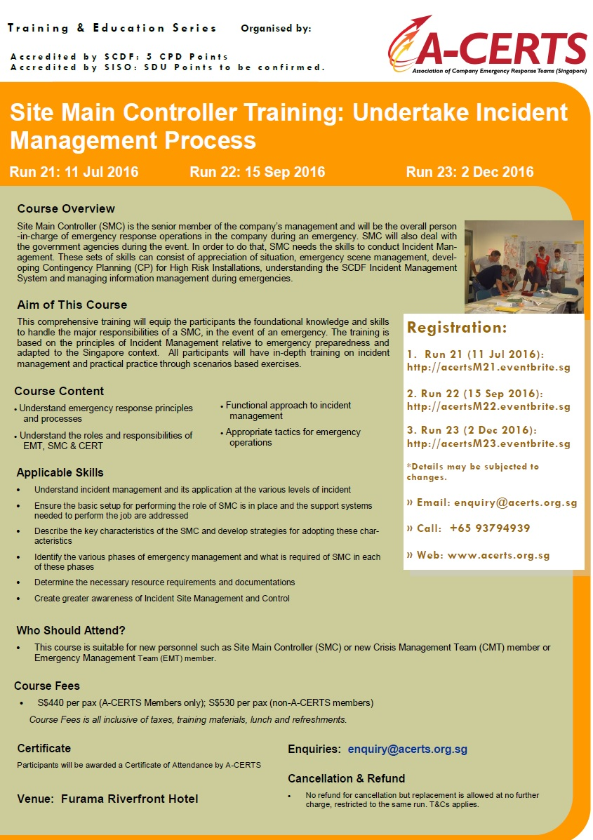 SMC Training: Undertake Incident Management Process (1 Day) Run 23