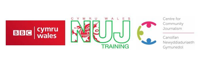 BBC Wales logo, NUJ Training Wales logo, C4CJ logo