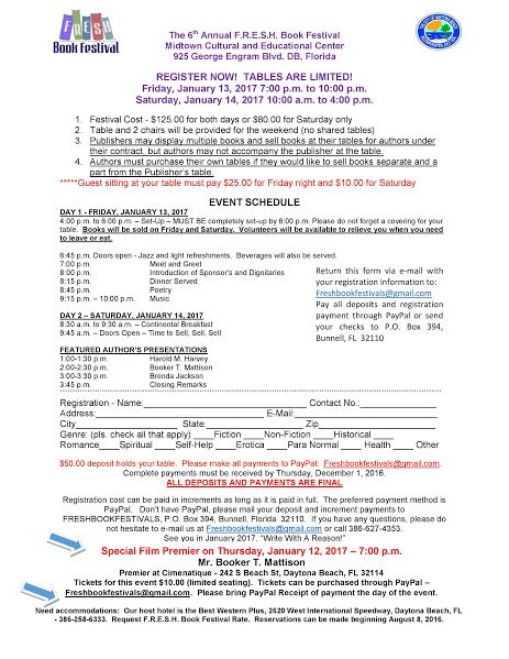 F.R.E.S.H. Book Festival author registration form