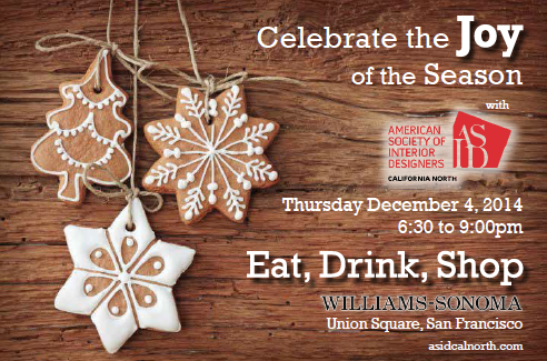 invite graphic of cookie decorations tree & snowflakes on a woodgrain background with the ASID Cal North logo and event details