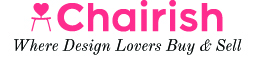 logo of Chairish.com in pink with tagline