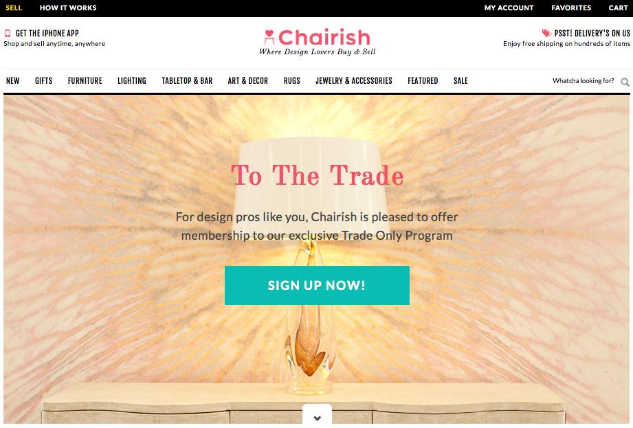 screenshot of Chairish.com Trade Program page