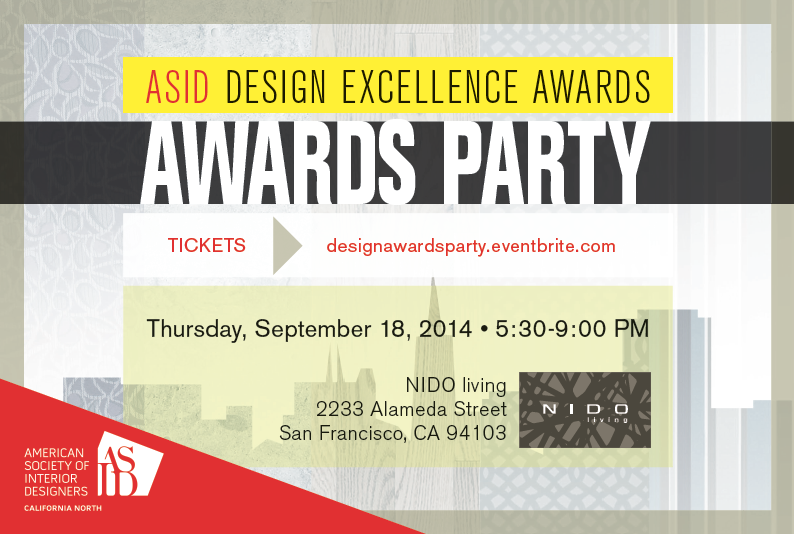 graphic of Design Excellence Awards Party invite with cityscape and NIDO showroom logo