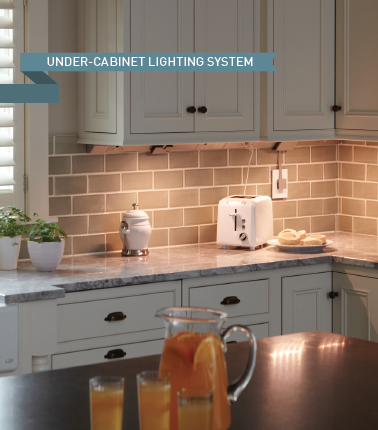 photo of kitchen with legrand features and lighting
