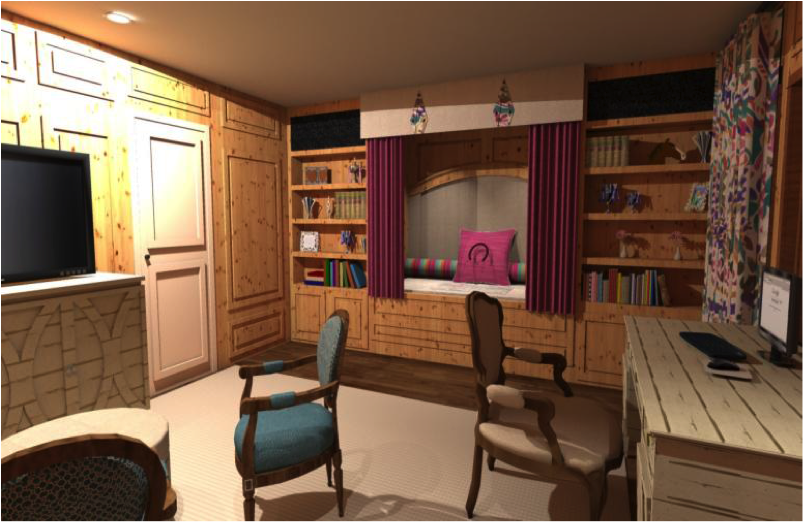 Example of SketchUp living room design with finishes