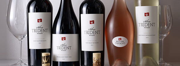 photo of bottles of Silver Trident wine