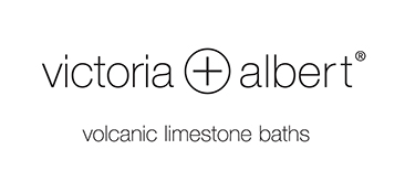 logo of Victoria+Albert Baths in black on white background