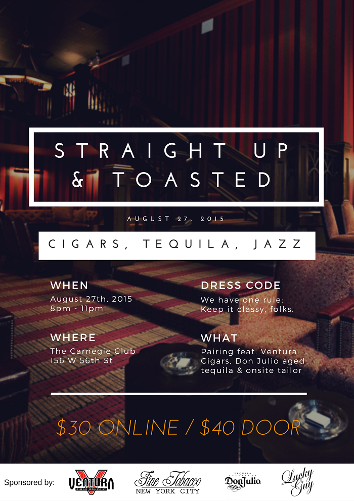 Post image for Event Invite: Straight Up & Toasted at The Carnegie Club