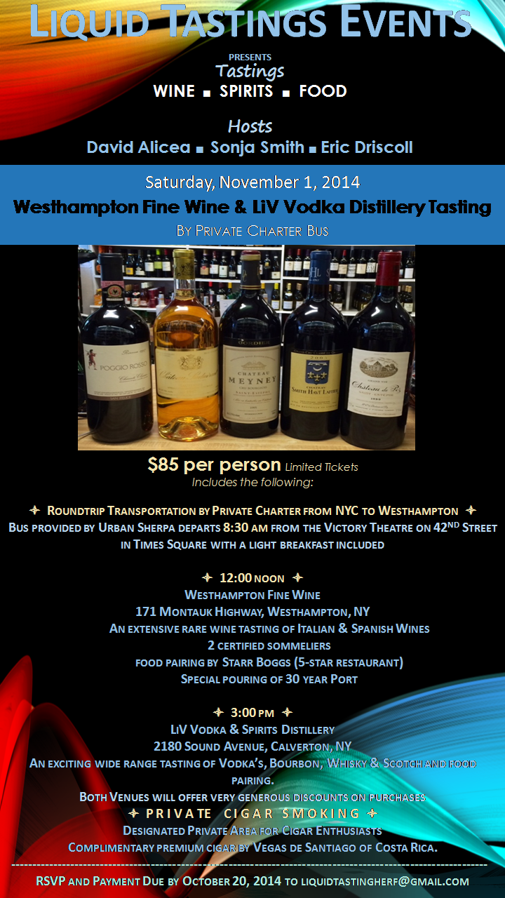 Post image for Invite: Westhampton Fine Wine & LiV Vodka Distillery Tasting