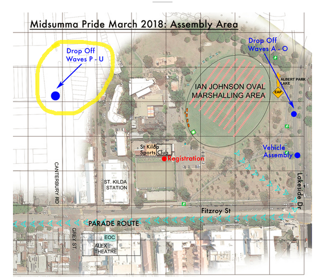 Pride March assembly location map