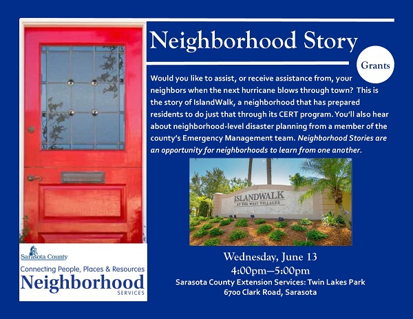 Neighborhood Services event description and postcard