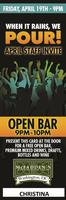 McFaddens Open Bar FRIDAY June 21 - 9PM to 10PM - Staff...