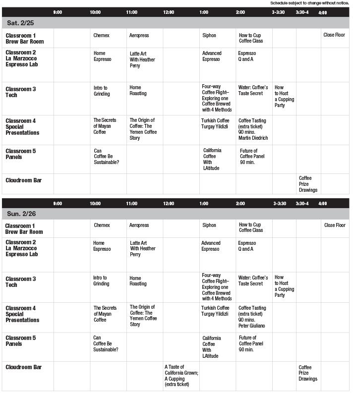 CoffeeConLA 2017 Class Schedule