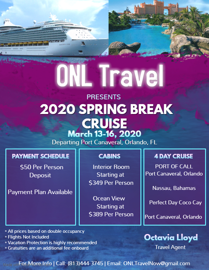 2020 Cruise Deals.Onl Travel Presents Spring Break 2020 Cruise Tickets Fri