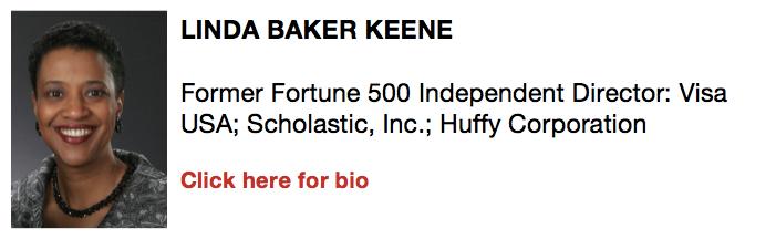 Linda Baker Keene, Former Fortune 500 Independent Director: Visa USA; Scholastic, Inc.; Huffy Corporation