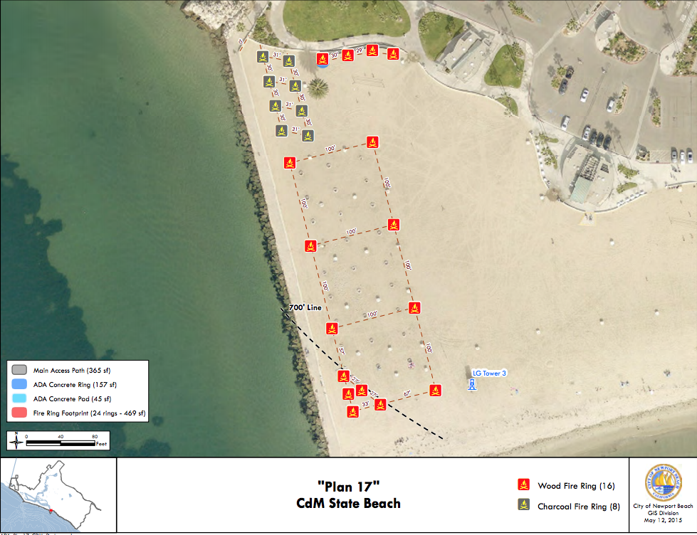 map of where the fire pits are