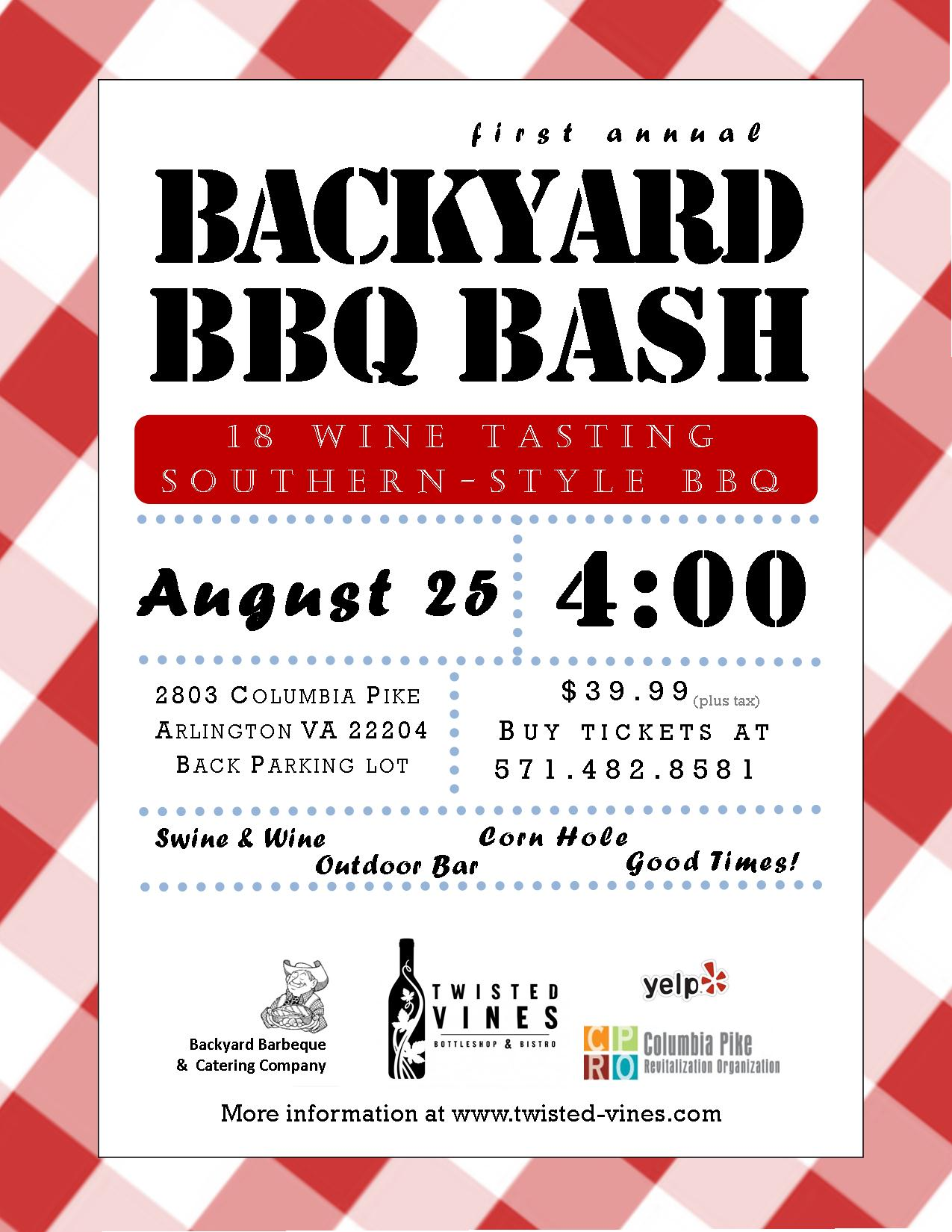 Backyard BBQ & Wine Bash Flyer