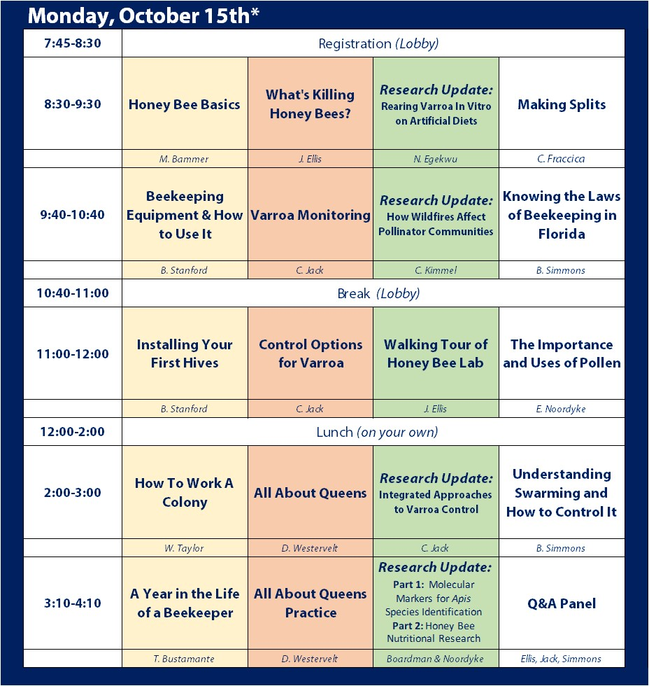 Bee College Extended Tentative Schedule