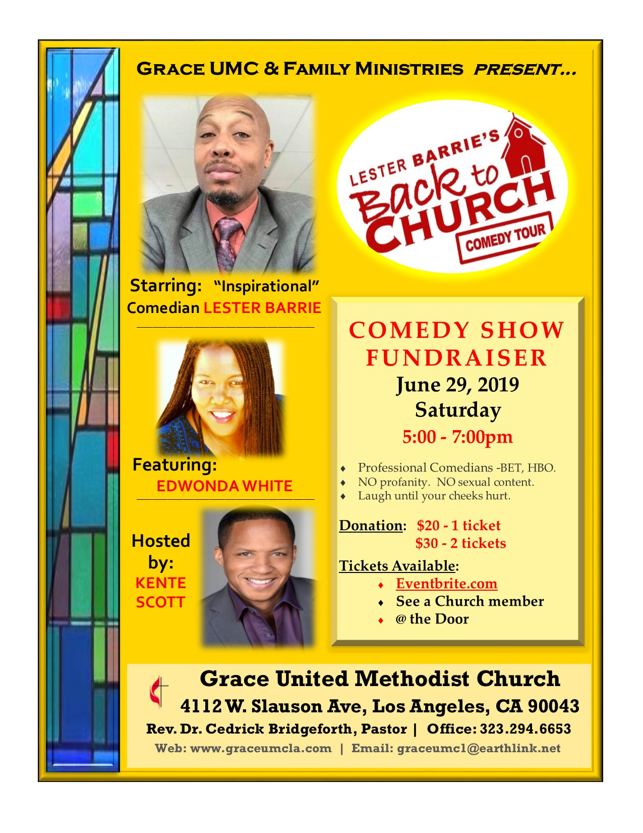 Lester Barrie Comedy Show at Grace UMC 06/29/19