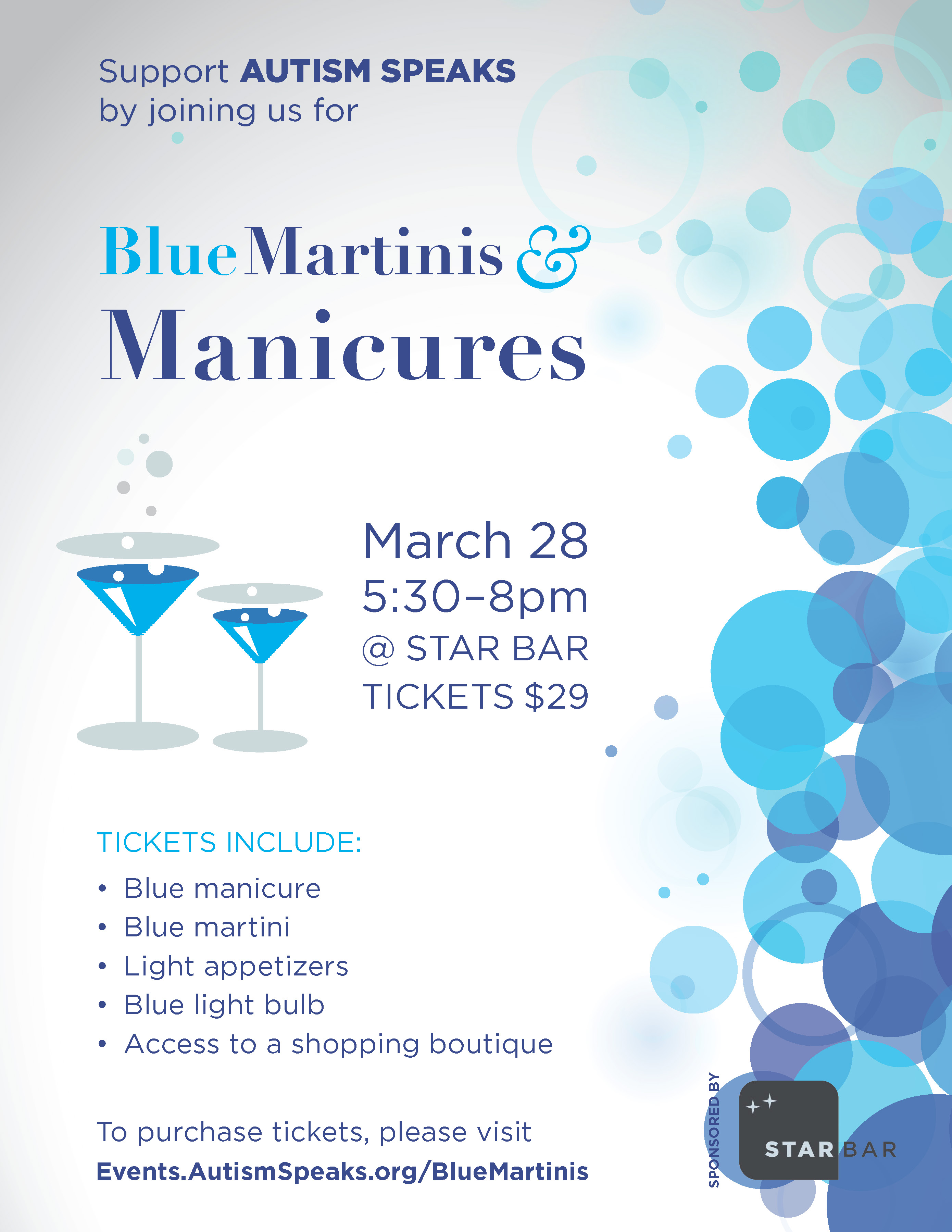 Blue Martinis & Manicures flyer