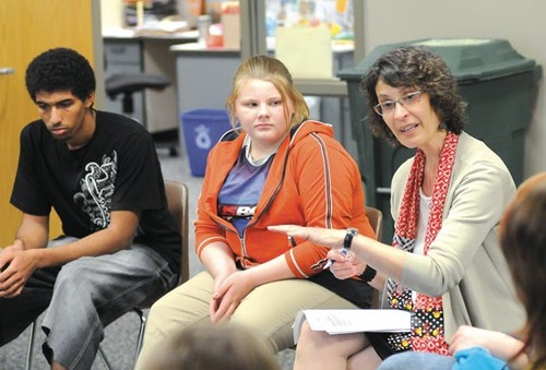 Nancy regularly meets with students on issues of bullying in schools.