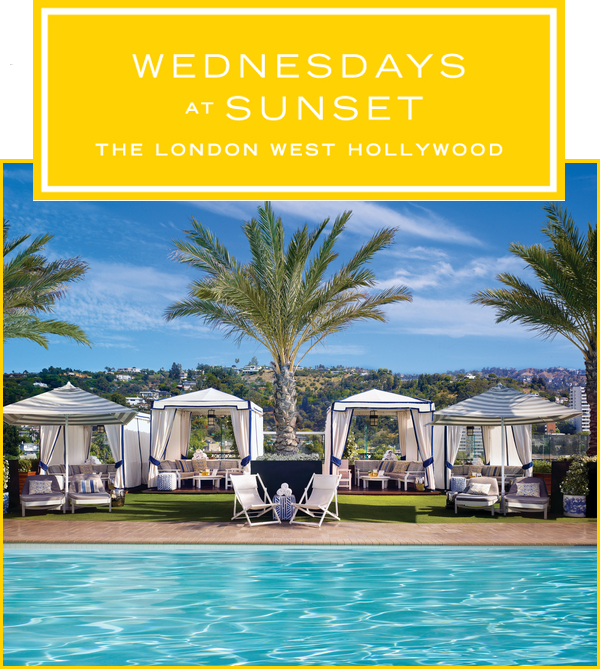 Event Banner for Wednesdays @ Sunset on the rooftop of The London Hotel in West Hollywood