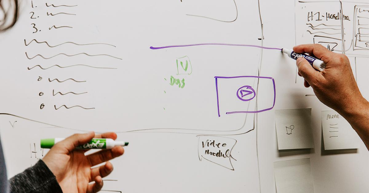 Wireframes on whiteboard