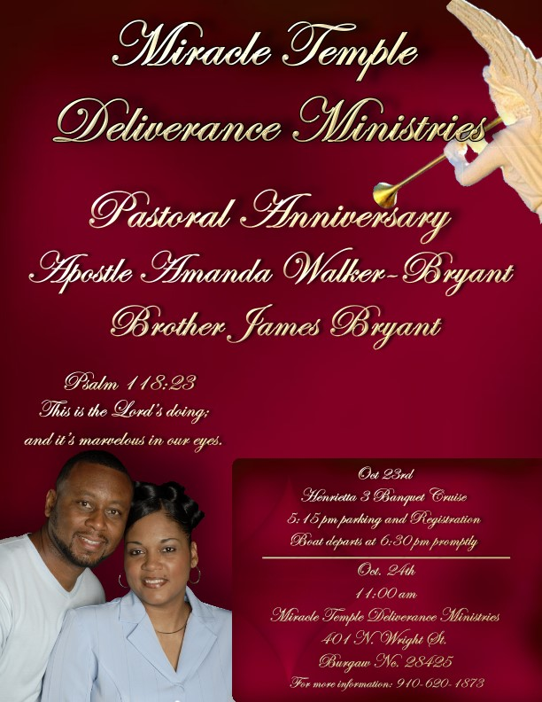 Pastor Anniversary for Apostle Amanda and Brother James ...