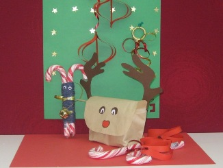 Candy Cane Reindeer, Reindeer bag and tree decorations