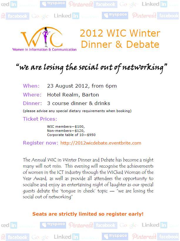 WIC 2012 Dinner Debate flyer