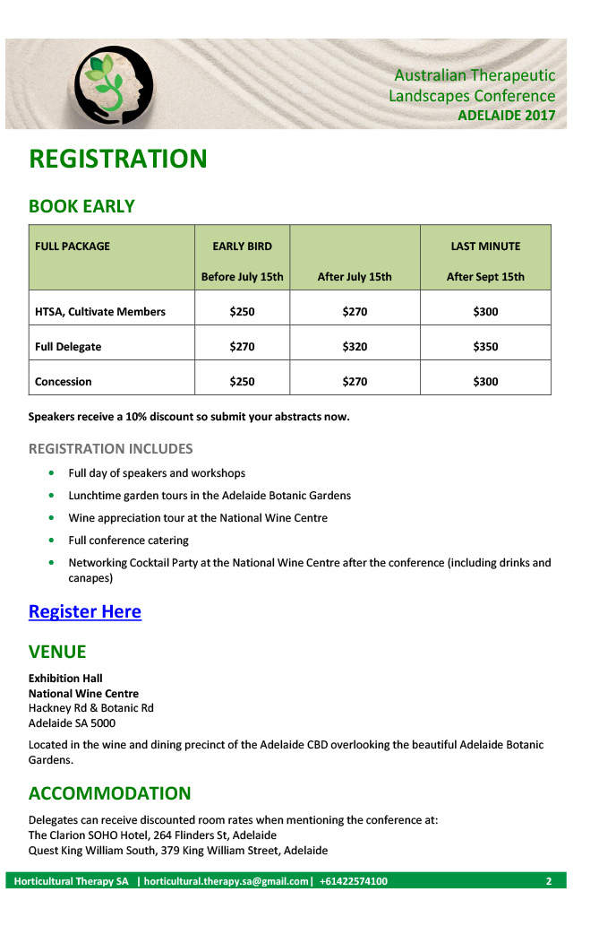 Australian Therapeutic Landscapes 2017 Registration Information