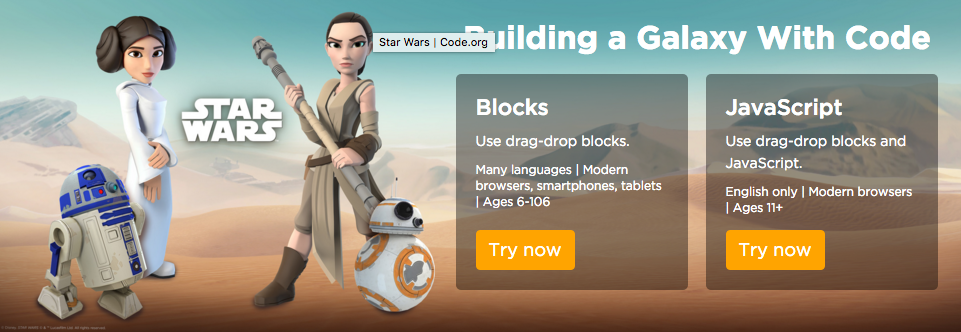 Learn to code using Starwars
