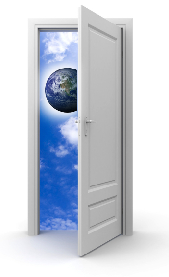 open door with earth in the horizon