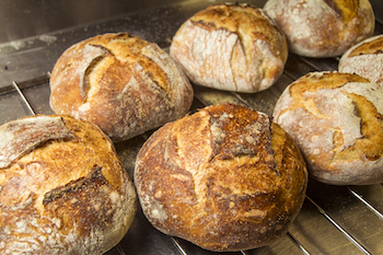 fresh out of the oven sourdough bread