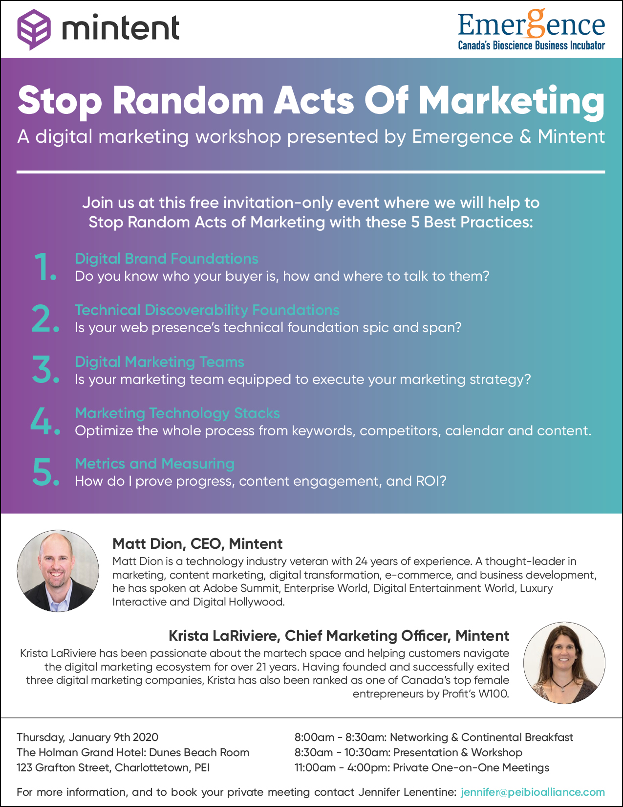 Stop Random Acts of Marketing Workshop @ Holman Grand Hotel, Dunes Room