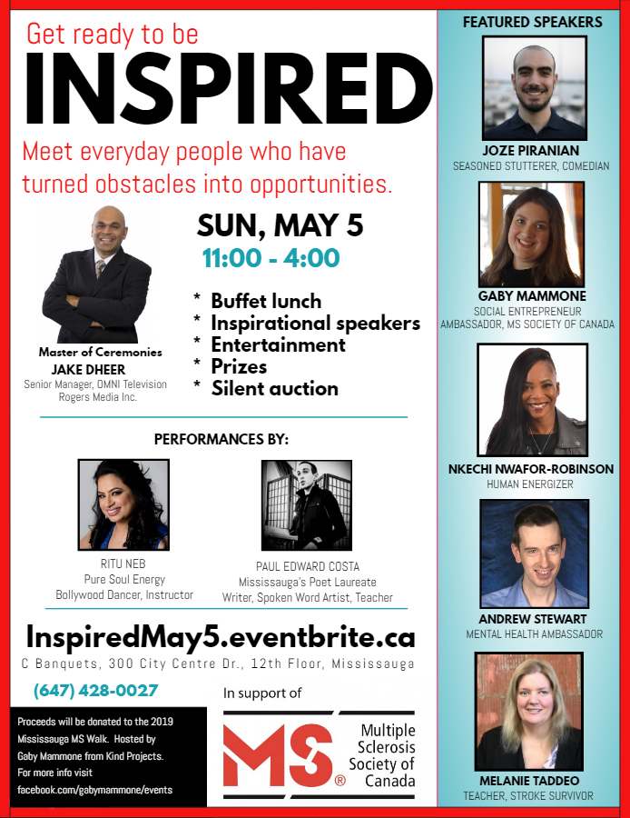 INSPIRED flyer - MS Fundraiser featuring inspirational keynote speakers on May 5 with lunch