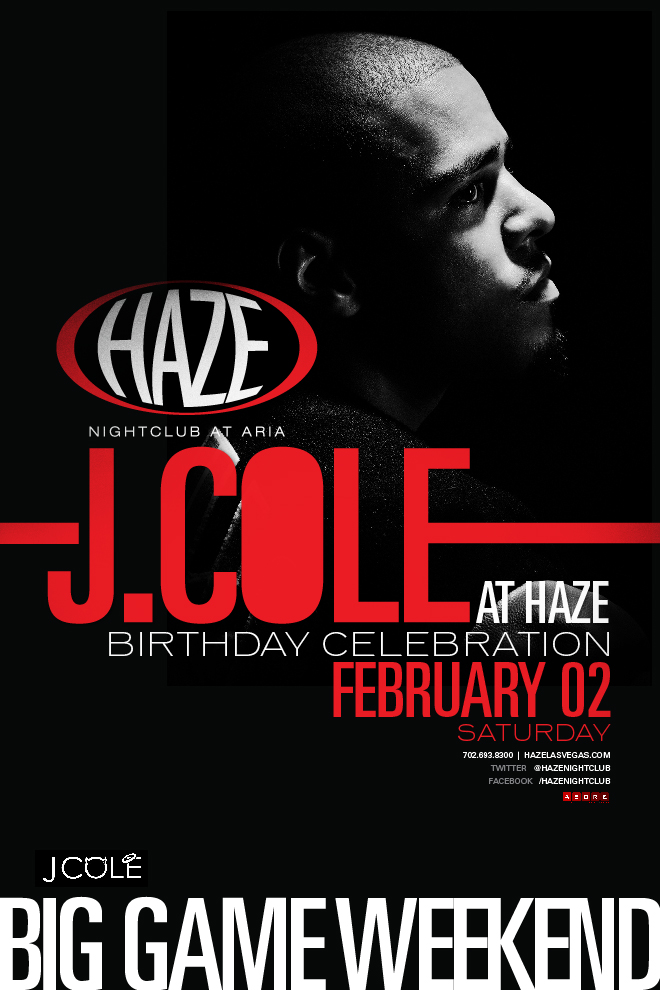 J. Cole Performs Live in Las Vegas at HAZE Nightclub Superbowl Weekend and Celebrates his Birthday