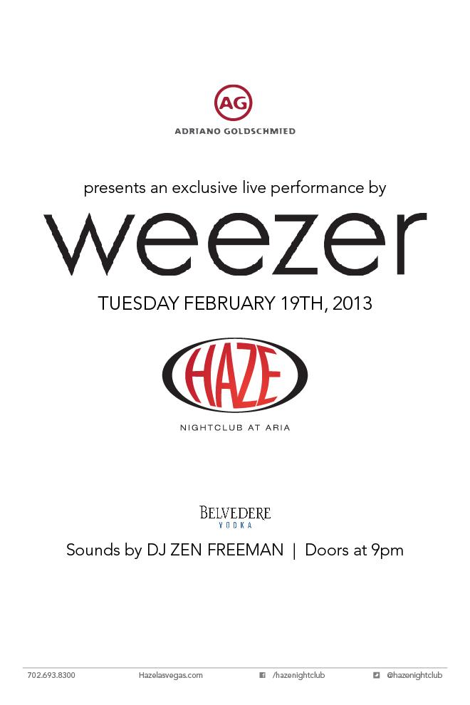 Weezer performs live in Las Vegas at HAZE Nightclub for MAGIC