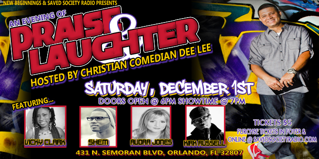 poster for Praise and Laughter dec 1