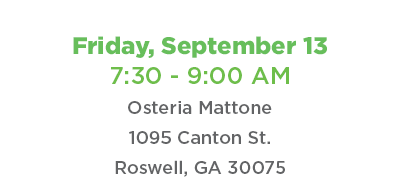 Coffee Connect Friday, September 13 from 7:30 to 9:00 a.m. at Osteria Mattone