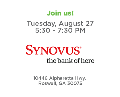 Join us for Roswell Connect - Tuesday, August 27 from 5:30 to 7:30 p.m. at Synovus Bank