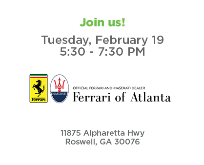 Join us for Roswell Connect - Tuesday, February 19 from 5:30 to 7:30 PM at Ferrari Maserati of Atlanta
