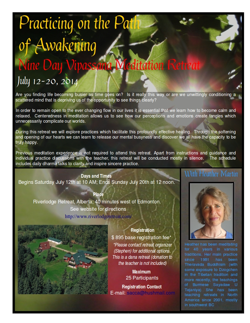 9-Day Meditation Retreat with Heather Martin July 12- 20, 2014 brochure